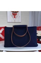 Replica Hermes Cabag Elan Bag In Dark Blue Canvas HJ01306