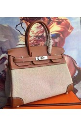 Replica Hermes Canvas Birkin 30cm 35cm Bag With Brown Leather Replica HJ00745