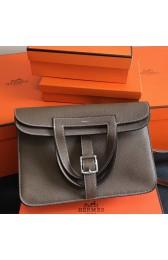Replica Hermes Halzan Bag In Etoupe Clemence Leather HJ00909