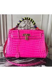 Replica Hermes Kelly 32cm Bag In Rose Red Crocodile Leather HJ01251