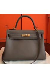 Replica High Quality Hermes Etoupe Swift Kelly Retourne 32cm Handmade Bag HJ00134