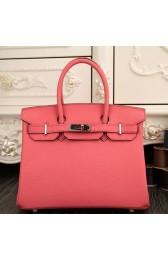 Replica Luxury Hermes Birkin 30cm 35cm Bag In Rose Lipstick Clemence Leather HJ00851