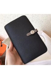 Replica Perfect Hermes Bicolor Dogon Duo Wallet In Black/Taupe Leather HJ01304