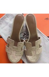 Replica Top Quality Hermes White Ostrich Oasis Sandals HJ00752