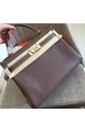 Top High Quality Fake Hermes Etoupe Clemence Kelly Retourne 32cm Handmade Bag HJ01264
