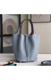 Top Quality Hermes Blue Lin Picotin Lock 18cm Bag With Braided Handles HJ00878