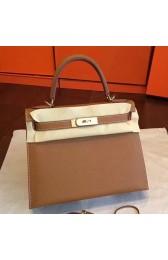 Wholesale Hermes Brown Epsom Kelly Sellier 28cm Handmade Bag HJ00866