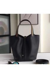 1:1 Fake Hermes Black Picotin Lock 22cm Braided Handles Bag HJ00099