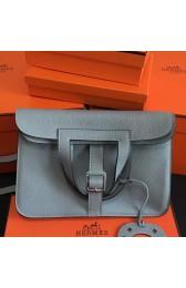 1:1 Hermes Halzan Bag In Blue Lin Clemence Leather HJ01168