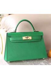 1:1 Replica Hermes Bamboo Epsom Kelly Mini II 20cm Handmade Bag HJ01189
