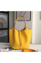 1:1 Replica Hermes Yellow Picotin Lock 22cm Braided Handles Bag HJ00150
