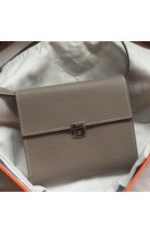 AAA Fake Hermes Grey Clic 16 Wallet With Strap HJ01026