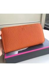 AAA Hermes Orange Clemence Azap Zipped Wallet Replica HJ00799