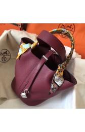 AAA Hermes Ruby Picotin Lock MM 22cm Handmade Bag HJ01086