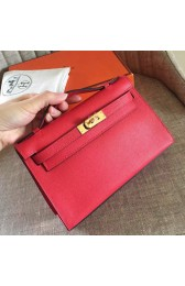AAA Imitation Replica Luxury Hermes Red Epsom Kelly Pochette Handmade Bag HJ01237