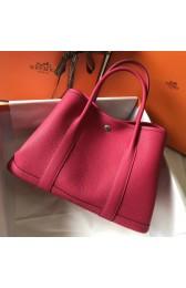 AAAAA Replica AAA Hermes Rose Red Clemence Garden Party 30cm Handmade Bag HJ00725
