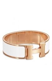 Best Replica Copy High End Hermes White Enamel Clic Clac H PM Bracelet HJ01120