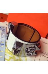 Cheap Copy High Quality Imitation Hermes White Alligator Collier De Chien Bracelet Size S HJ00204
