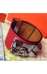 Cheap Hermes Red Epsom Collier De Chien Bracelet Size S HJ00698
