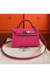 Cheap Hermes Rose Red Epsom Kelly Mini II 20cm Handmade Bag HJ00756