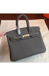 Cheap Replica Hermes Vert Gris Clemence Birkin 25cm Handmade Bag HJ00668