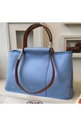 Copy Best Quality Hermes Cabag Elan Bag In Celeste Canvas HJ00163