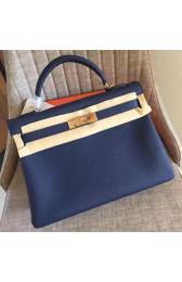 Copy Best Quality Hermes Sapphire Clemence Kelly Retourne 32cm Handmade Bag HJ01165