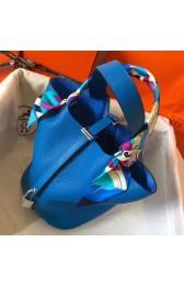 Copy Hermes Blue Hydra Picotin Lock MM 22cm Handmade Bag HJ00206
