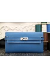 Copy Hermes Kelly Longue Wallet In Jean Blue Epsom Leather HJ00955