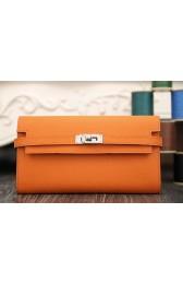 Copy High End Hermes Kelly Longue Wallet In Orange Epsom Leather HJ01035