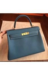 Copy Hot Imitation Hermes Blue Jean Clemence Kelly Retourne 32cm Handmade Bag HJ00187