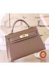 Copy Luxury Knockoff Hermes Etoupe Epsom Kelly Mini II 20cm Handmade Bag HJ00311