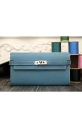 Copy Luxury Replica Hermes Kelly Longue Wallet In Jean Blue Clemence Leather HJ00678