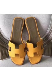 Designer Luxury Replica Hermes Oran Sandals In Jaune Epsom Leather HJ00921