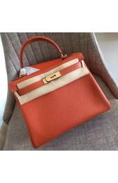Fake AAA Replica Hermes Orange Clemence Kelly Retourne 32cm Handmade Bag HJ00183