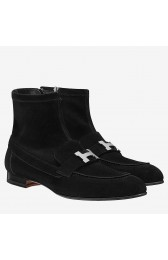 Fake Cheap Replica Hermes Black Saint Honore Ankle Boots HJ00847