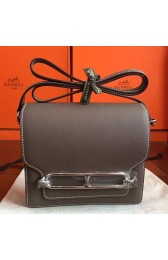 Fake Designer Top Quality Hermes Mini Sac Roulis Bag In Etoupe Swift Leather HJ01118