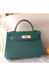 Fake Hermes Malachite Chevre Kelly Mini II 20cm Handmade Bag HJ00660