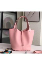 Fake Hermes Pink Picotin Lock 22cm Braided Handles Bag HJ00079