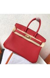 Fake Hermes Red Clemence Birkin 25cm Handmade Bag HJ00292