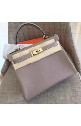 Fake Luxury Hermes Grey Clemence Kelly Retourne 28cm Handmade Bag HJ00153