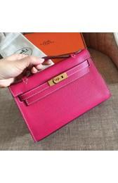 Fake Replica Designer Hermes Rose Red Epsom Kelly Pochette Handmade Bag HJ00207