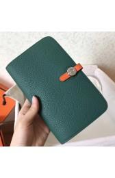 Fake Replica Replica Hermes Bicolor Dogon Duo Wallet In Malachite/Orange Leather HJ01293
