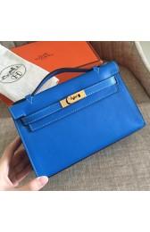 Fake Top Cheap Faux Hermes Blue Izmir Swift Kelly Pochette Handmade Bag HJ00328