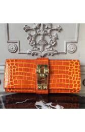 Fake Wholesale Hermes Medor Clutch Bag In Orange Crocodile Leather HJ00712