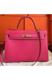 Fashion Copy Hermes Rose Tyrien Epsom Kelly 32cm Sellier Handmade Bag HJ00487