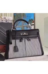 Fashion Hermes Black Kelly Lakis 32cm Toile And Swift Bag HJ01271