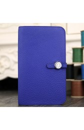 Fashion Hermes Dogon Combine Wallet In Electric Blue Leather HJ01215