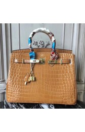 Faux Hermes Birkin 30cm 35cm Bag In Camarel Crocodile Leather HJ00740