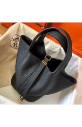 Faux Hermes Black Picotin Lock MM 22cm Handmade Bag HJ01263